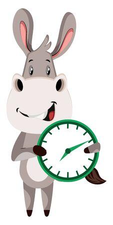 Donkey with clock, illustration, vector on white background. Çizim