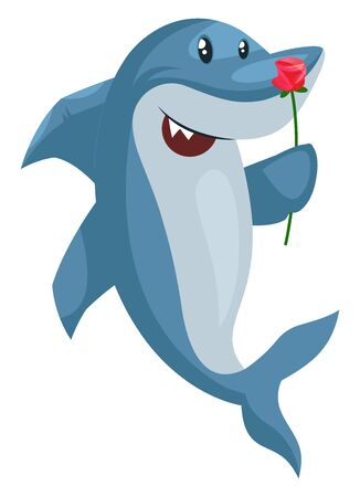 Shark with flower, illustration, vector on white background.