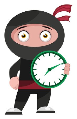 Ninja with green clock, illustration, vector on white background.