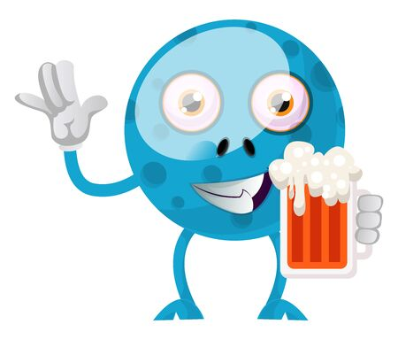 Blue monster with beer, illustration, vector on white background.