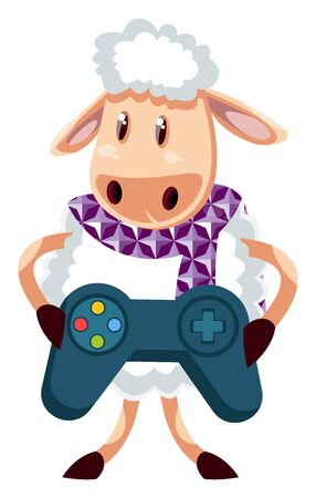 Sheep with gamepad, illustration, vector on white background.