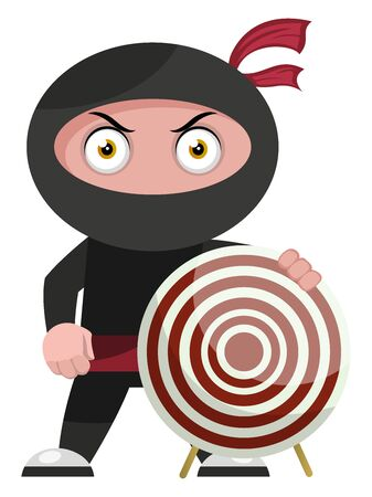 Ninja with target, illustration, vector on white background.