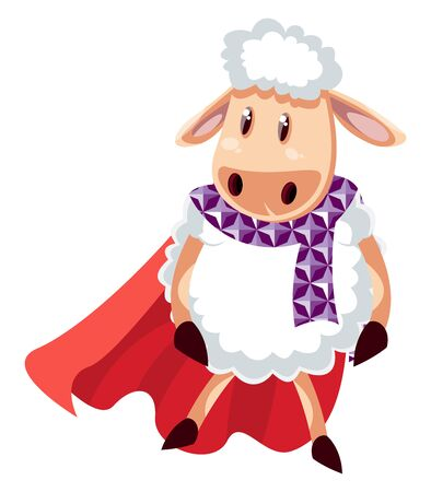 Sheep with red cape, illustration, vector on white background. Ilustrace