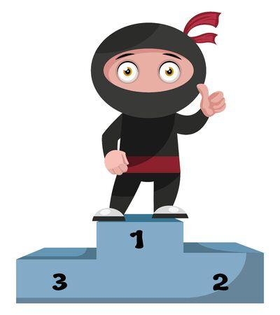 Ninja on winning stage, illustration, vector on white background. Illusztráció