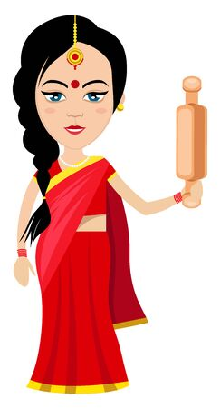 Indian woman with rolling pin, illustration, vector on white background.