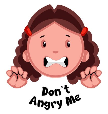 Dont angry me girl emoji, illustration, vector on white background.