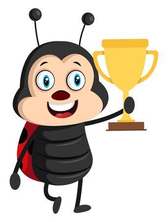 Lady bug with trophy, illustration, vector on white background. Illustration