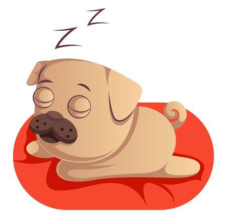 Pug sleeping, illustration, vector on white background. Illusztráció