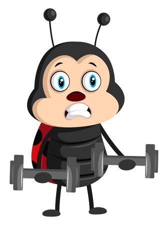 Lady bug with weights, illustration, vector on white background.