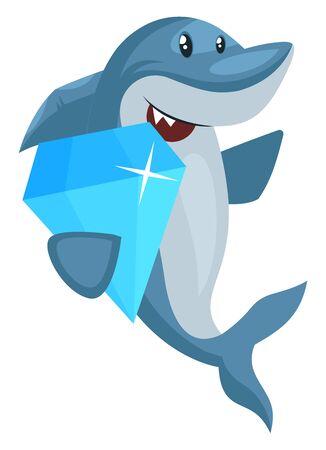 Shark with diamond, illustration, vector on white background. Иллюстрация