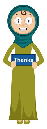 Woman with thanks sign, illustration, vector on white background.