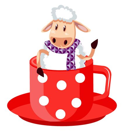 Sheep in big cup, illustration, vector on white background.