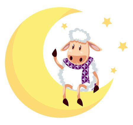 Sheep on moon, illustration, vector on white background.
