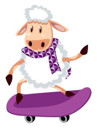 Sheep on skateboard, illustration, vector on white background.