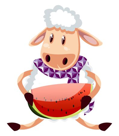 Sheep with watermelon, illustration, vector on white background. 일러스트