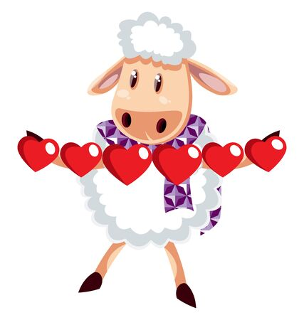 Sheep with little hearts, illustration, vector on white background.