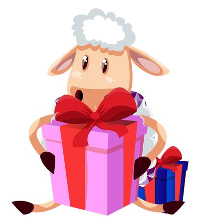 Sheep with gift, illustration, vector on white background.