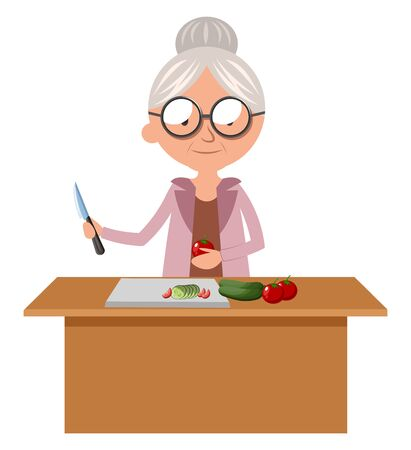 Granny cutting food, illustration, vector on white background. 일러스트