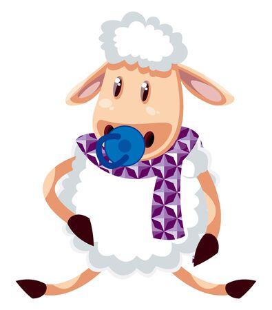 Baby sheep, illustration, vector on white background. Illustration
