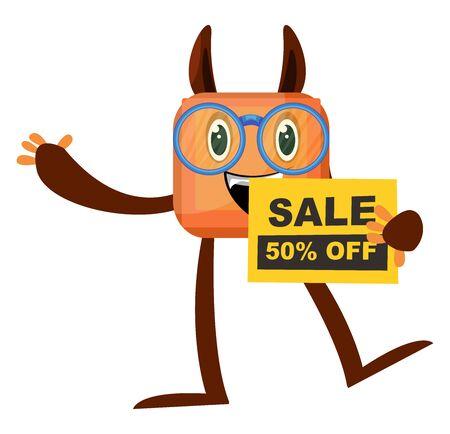 Monster on sale, illustration, vector on white background.