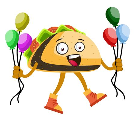 Taco with balloons, illustration, vector on white background.