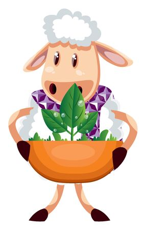 Sheep with plant, illustration, vector on white background.