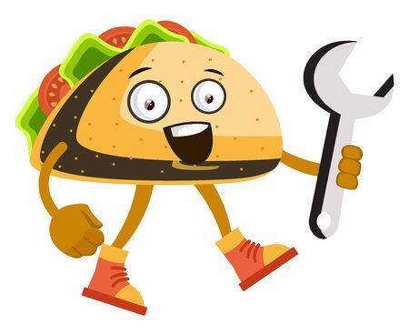 Taco with big wrench, illustration, vector on white background.
