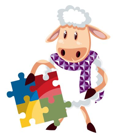 Sheep with puzzle, illustration, vector on white background.