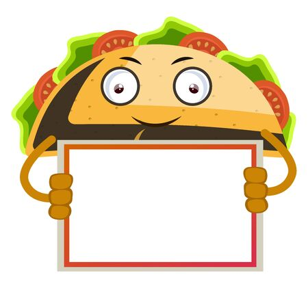 Taco with blank note, illustration, vector on white background.