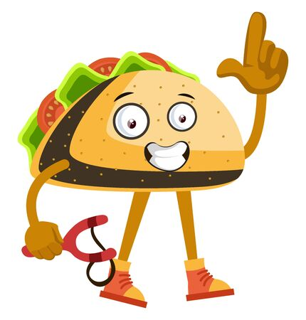 Taco with sling shot, illustration, vector on white background.