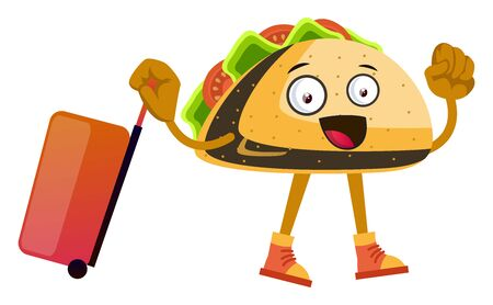Taco with suitcase, illustration, vector on white background. Foto de archivo - 132741780