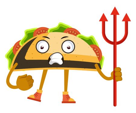 Taco with devil spear, illustration, vector on white background. Vettoriali