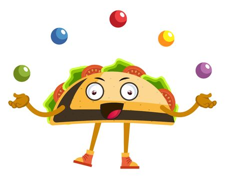 Taco juggling with balls, illustration, vector on white background.