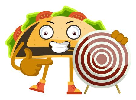 Taco with target, illustration, vector on white background. Иллюстрация