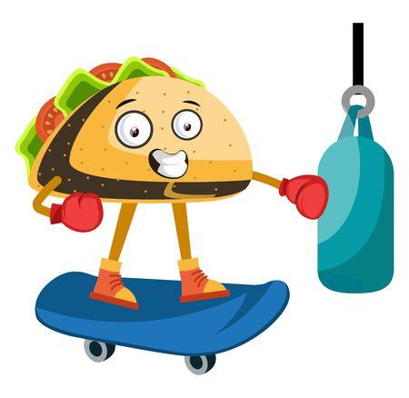 Taco on skateboard, illustration, vector on white background.