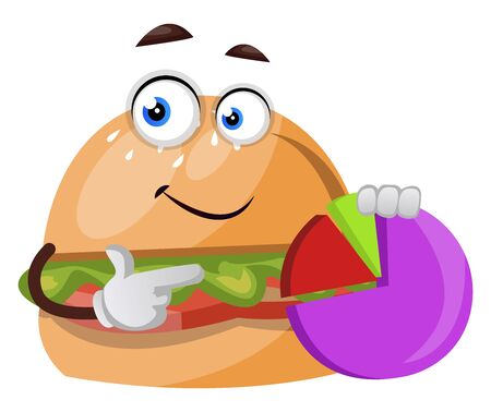 Burger with analytics, illustration, vector on white background.