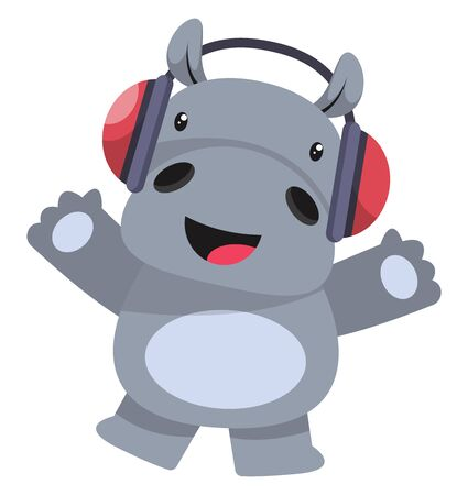 Hippo with headphones, illustration, vector on white background.