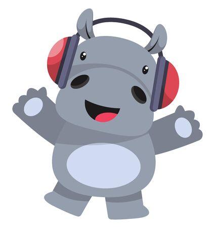 Hippo with headphones, illustration, vector on white background. Vektorové ilustrace