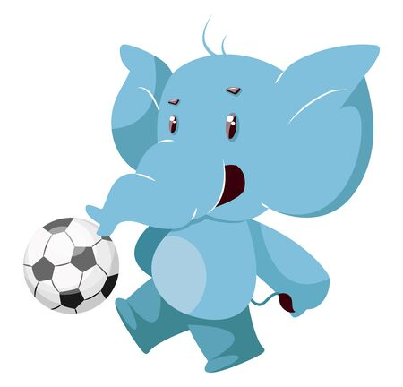 Elephant with football, illustration, vector on white background.