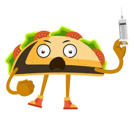 Taco with injection, illustration, vector on white background. Иллюстрация