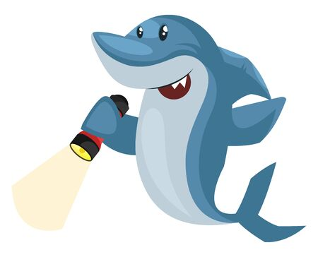 Shark with flashlight, illustration, vector on white background.