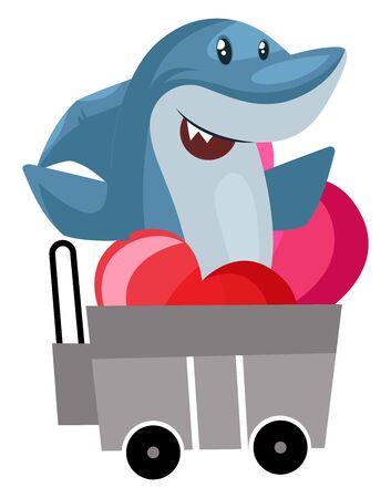 Shark in shopping cart, illustration, vector on white background. Illustration