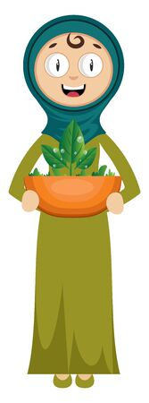Woman with plant, illustration, vector on white background. Ilustração