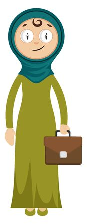 Woman with suitcase, illustration, vector on white background.