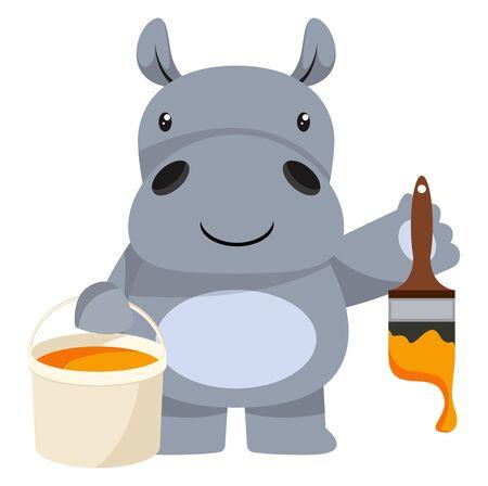Hippo painting, illustration, vector on white background. Illusztráció