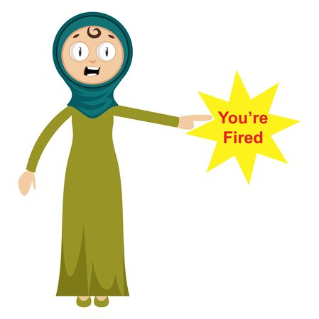 Woman fired someone, illustration, vector on white background.