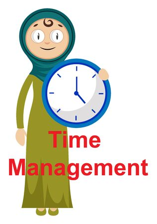 Woman with clock, illustration, vector on white background. Illustration