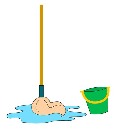 Mop and bucket, illustration, vector on white background