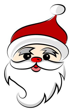 Santa Claus with red lips, illustration, vector on white background.