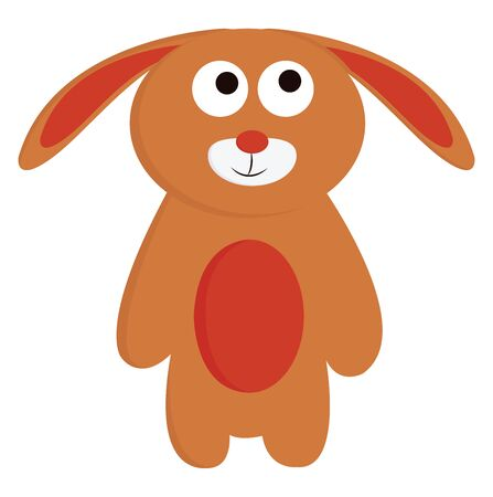 Toy of a rabbit in brown and red color, vector, color drawing or illustration.